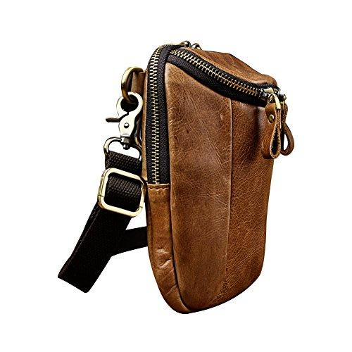 Genda 2Archer Mini Crossover Tasche Ledergürtel Gürteltasche für Männer (Braun 3) Braun 3