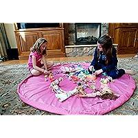 Preisvergleich für Flikool Tragbar Toy Storage Bag Spielzeug Speicher Tasche Kinder Spielzeugaufbewahrung Aufbewahrung Beutel Toy Organizer Aufraumsack Spieldecke Spielmatte Children Play Mat 150cm - Rose