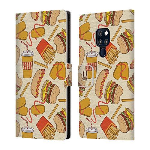 Head Case Designs Burger Und Fries Fast Food Muster Brieftasche Handyhülle aus Leder für Huawei Mate 20