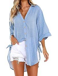 SHOBDW Liquidación de Ventas Mujeres Señoras Formales de la Oficina V Cuello botón Flojo Sexy Camisa Larga Vestido de algodón Tops Camiseta Blusa