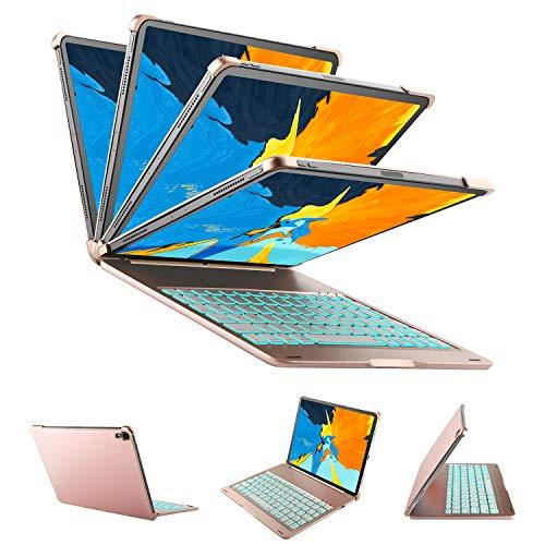 Yocktec Beleuchtete Tastatur Hülle für Apple iPad Pro 11 2018 [QWERTZ], Aluminium Ultradünne Bluetooth-Tastatur Auto Sleep/Wake iPad Keyboard Case/Cover für Apple iPad Pro 11 Zoll 2018 (Rosegold) -