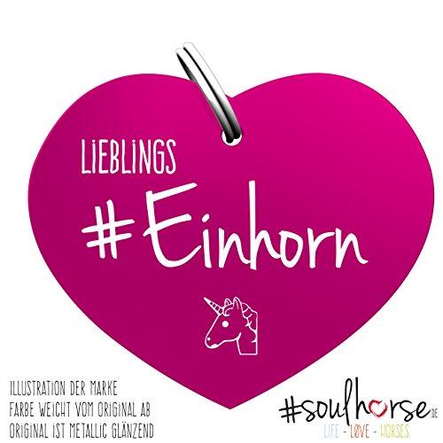 Pferde Einhorn Glücksmarke #Lieblingseinhorn Pink – Gücksbringer - Soulhorse Anhänger Halfter, Trense, Zaumzeug, Sattel, Vorderzeug