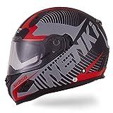 Nenki Helme NK-856 Full Face Motorradhelme, Glasfaser schale,ECE-geprüft, mit Doppelvisieren(Mattschwarz Rot-M)