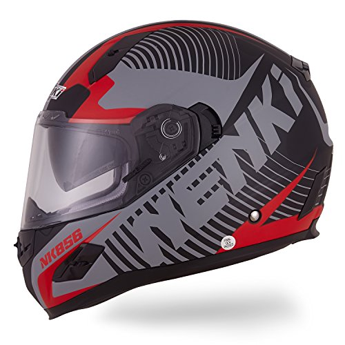 Nenki Helme NK-856 Full Face Motorradhelme, Glasfaser schale,ECE-geprüft, mit Doppelvisieren(Mattschwarz Rot-L)