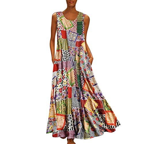 friendGG❤Frauen Vintage Print Floral Patch Kleid ÄRmellos Oansatz Lose Maxi Damen Mode Freizeit Mini Party Rock Sommer Kleider Kurzarm Sommerkleid (Arzt, Party-stadt Der)