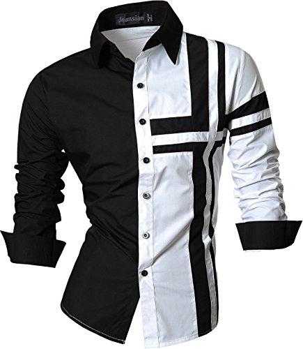 jeansian Herren Slim Fit Lang Ärmel Casual Button-Down Kleid Shirts 8397, Farbe schwarz/weiss, Size XXL