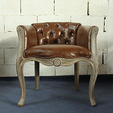 Madera maciza Vintage acolchado sillón silla para comedor sala de estar oficina