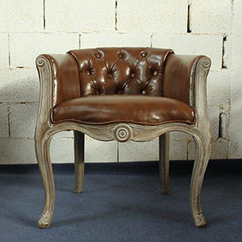 Madera maciza Vintage acolchado sillón silla para comedor sala de estar oficina recepción,E,62*61*70cm