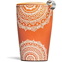 Tea Forté Kati taza de cerámica té taza de café con infusor cesta y tapa para infusiones, eléctrica de té, Chakra
