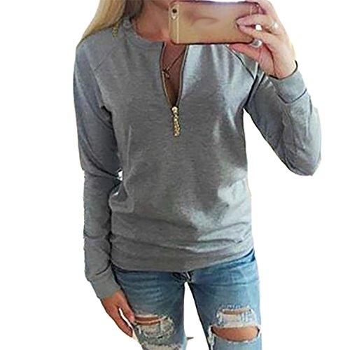 Damen Reißverschluss Normallacks Hemden T-Shirt Langärmlig Short Beiläufige Casual Tops Oberteile Blusen Boleros Sport Grau