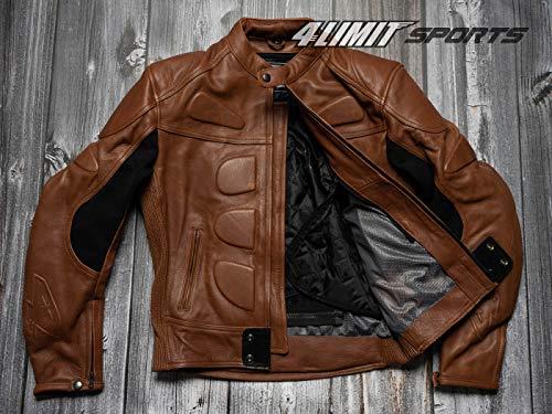 4LIMIT Sports Herren Motorradjacke Leder STREETBANDIT Biker Rocker Motorrad Jacke Lederjacke vintage braun - Braun Leder Jacke Für Herren Aus