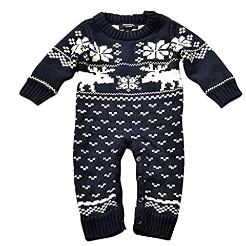 Unisex Baby Strick Strampler Lange Ärmel Weihnachten Pullover mit Elch