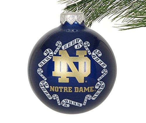 NCAA Candy Cane Traditionelle Glas Ball Weihnachten Elegant, 25/20,3cm, Notre Dame Fighting Irish-Navy -
