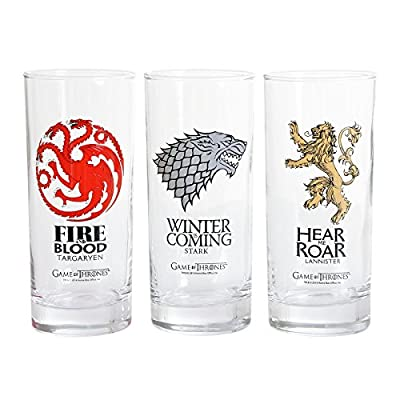 Game of Thrones Glass Set 3 Piece with Stark Targaryen Lannister Logo 15cm
