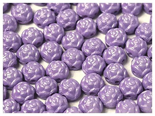 30 Stück Rosetta® Cabochons® - Tschechische gepresste Glasperlen in Form einer runden Rose 6 mm mit zwei Löchern, Alabaster Powder Light Purple -