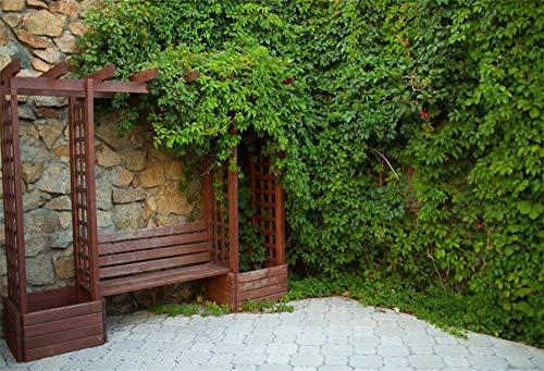 MMPTn 9x6ft Schöne Hinterhof Retro Bank Hintergrund Ruhige Sommer Park Ecke Land Saisonale Garten Laub Wand Fotostudio Requisiten -