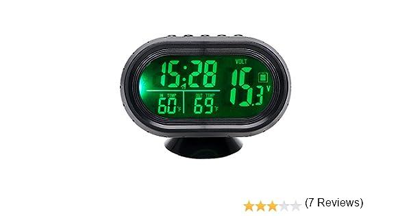 Itimo Automobiles Clock termometro tester di tensione doppio temperatura cruscotto LED illuminato orologio auto ornamento gauge voltmetro verde