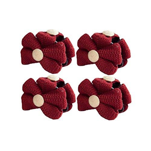 Ensemble de 4 belle épingle à cheveux / Bowknot pince cheveux, rouge
