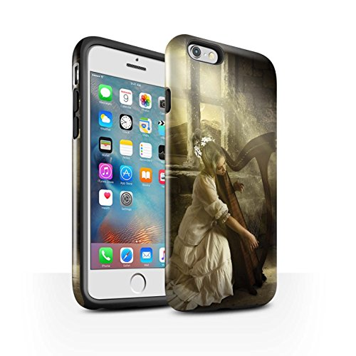 Officiel Elena Dudina Coque / Brillant Robuste Antichoc Etui pour Apple iPhone 6+/Plus 5.5 / Violoncelle/Nuages Design / Réconfort Musique Collection Harpe/Harpiste