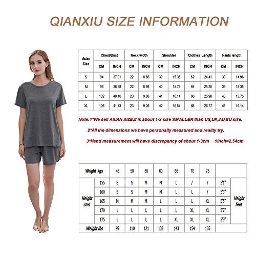 QianXiu estate donne pigiama grigio camicia da notte modale set di indumenti da notte in cotone set di indumenti da notte maniche corte Gray