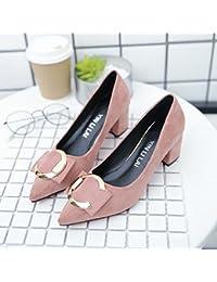 Xue Qiqi Zapatos de Corte Hembra con Tacón Alto (5 cm, con Hebilla Redonda de Metal Negro con un Solo Zapato,...