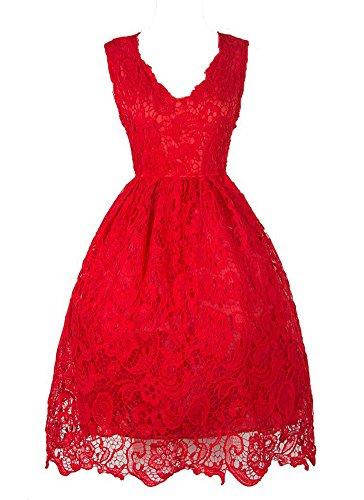 Generic Damen A-Linie Kleid schwarz Schwarz Rose X-Large Rot