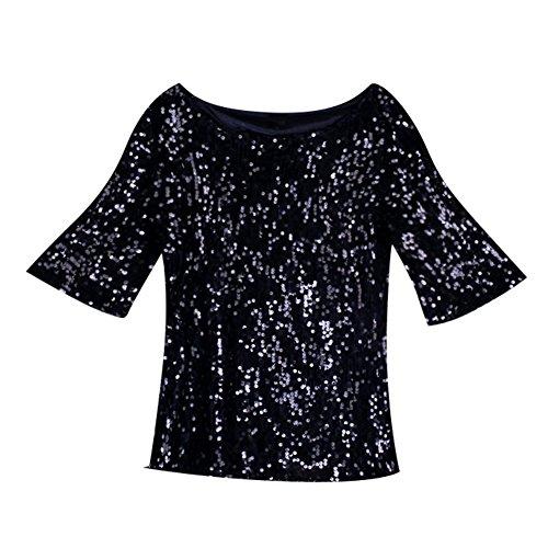 Juleya Frauen 1/2 Hülsen-Sommer-T-Shirt Weinlese-Pailletten Shinny Tops mit U-Stitch-Hals Beiläufige Cocktail-Ball-Kleider Abend-Kleider Partei Clubwear (Pailletten-partei-cocktail)