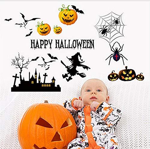 Happy Halloween Wandaufkleber Für Wohnzimmer Party Dekoration Kürbis Laterne Hexe Schloss Vinyl Abnehmbare Kunst Aufkleber 48 * 66 Cm