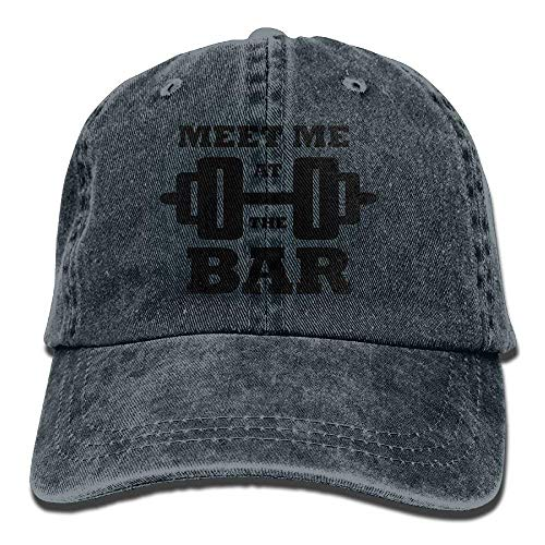 Meet Me at The Bar Denim Baseball Caps Hat Adjustable Cotton Sport Strap Cap for Men Women Ashton Denim