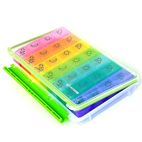 AUVON Tablettenbox 7 Tage, Pillendose Medikamentenbox 7 tage 4 fächer, mit einer feuchtigkeitsbeständigen Bauart und großen Fächern, um Vitamin und Ergänzungspräparate, sowie Medikamente aufzubewahren