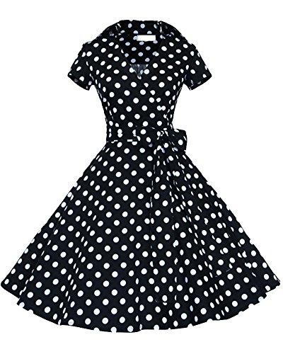 Vestidos 50S Retro Manga Corta Audrey Hepburn Swing Polka Dots Rockabi