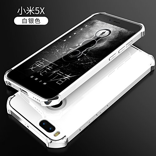 YHUISEN Xiaomi Mi5X Case, Fashion 3 in 1 Heavy Duty High Impact Matte Plating Shockproof Anti-Drop PC Hard Schutzhülle für Xiaomi Mi5X / Mi 5X ( Color : Silver White ) Silver White