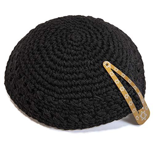 JL Kippha's Klassische Strick 18 cm schward Cotton Kippah jüdischen Traditionelle Kippa Yarmulke Runde -