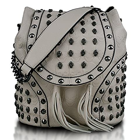 Miss Lulu Faux Leather Studded Embossed Skull Chain Backpack Shoulder Bag Travel Leisure Work School Beige