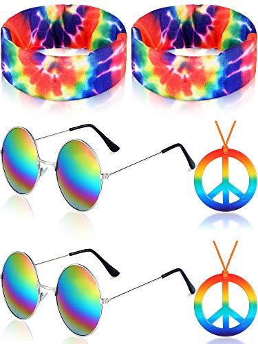 Hippie Kostüm Set, Enthält 2 Hippie Sonnenbrillen, 2 Regenbogen Friedenszeichen Halskette und 2 Hippie Krawatten Bandana Stirnband für 60 oder 70 Jahre Hippie Ankleiden - Hippie Kostüm Für Jugendliche