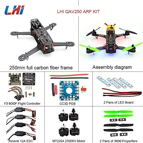 LHI QAV 250mm Quadcopter Frame Racing+ CC3D Flight Controller + MT2204 2300KV Motor + Simonk 12A ESC + 5030 propeller