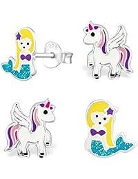 GH * 2pares Pegasus Unicornio + purpurina sirena Set Pendientes 925plata auténtica niña niños pendientes azul, lila, color blanco