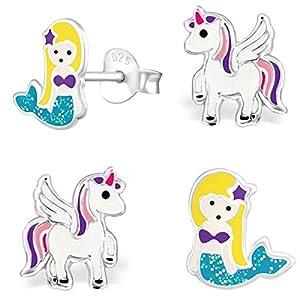 GH* 2 PAAR Pegasus Einhorn Glitzer Meerjungfrau Set Ohrstecker 925 Echt Silber Mädchen Kinder Ohrringe Pfötchen Herz