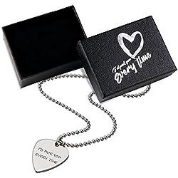 Grabado Collar De Púa De Guitarra Caja De Regalo - Plectro De Metal Grabado Collar Colgante Amantes De La Música Novia Novio En El Día De San Valentín - Marido Esposa Cumpleaños Aniversario Boda