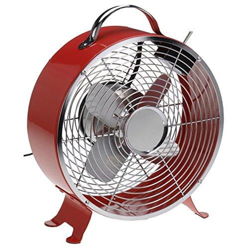 Storeingross Ventilatore Vintage da Tavolo–2velocità–Rosso