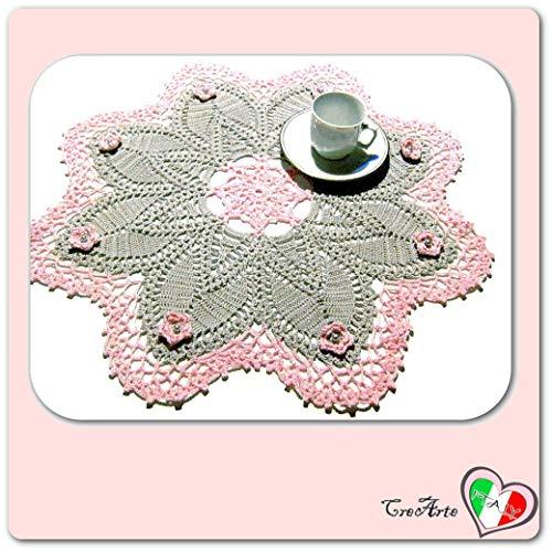 Große rosa und grauer Häkeldeckchen - Größe: ø 45 cm - Handmade - ITALY