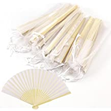 CLE DE TOUS - Abanicos para Invitado Boda Fiesta Abanico de bambú con tela Coloridos LOTE 10 UND (Blanco)