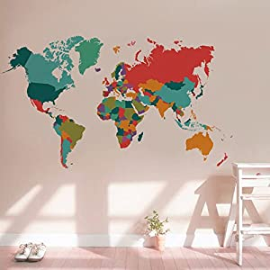 Pegatina mapa mundo colorido para dormitorio salon cuartos de 107 x 60 cm de OPEN BUY