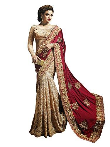 Kanha Fashion Women Latest Design Wear Sarees Collection Satin Silk Georgette Material With Rawsilk&Rasalnet Blouse Free Size Party Wear