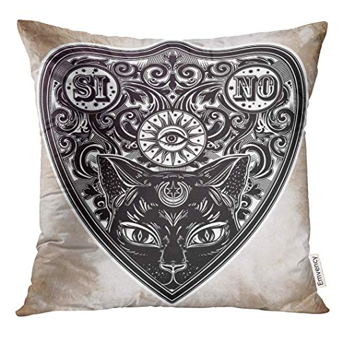 Cupsbags Throw Pillow Cover Aged Vintage Magic Ouija Board Oracle Black Cat Head Portrait Antique Boho Chic Halloween and Tattoo Decorative Pillow Case Home Decor Square 18x18 Inches Pillowcase