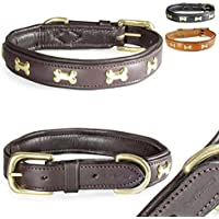 [Gesponsert]Fashion-Line von Pear Tannery: Hundehalsband aus weichem Vollrindleder, versehen mit einer Knochen-Verzierung mittig, S 36-46cm, schokoladenbraun