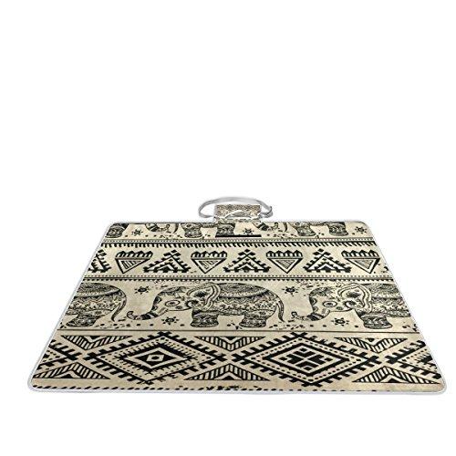 Bennigiry Manta de picnic para exteriores, diseño de elefantes azteca, tamaño extragrande,...