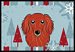 Carolines Treasures Winter Holiday Longhair Red Dachshund Indoor or Outdoor Mat, 24 by 36, Multicolor