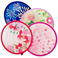 Binglinghua Round Floral Polyester Hand Fan Colorful Home Japanese Style Festival Decor Children (1 PCS random color)