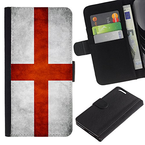 "Graphic4You Vintage Uralt Flagge Von Italien Design Brieftasche Leder Hülle Case Schutzhülle für Apple iPhone 6 Plus / 6S Plus (5.5"") English Flag of England"